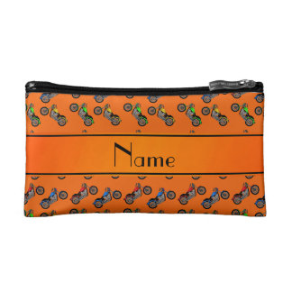 Personalized name orange motorcycles cosmetic bags