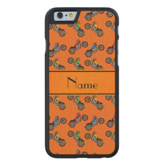 Personalized name orange motorcycles carved® maple iPhone 6 case
