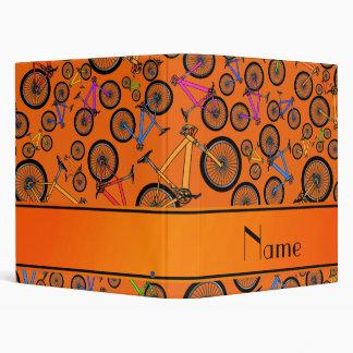 Personalized name orange mountain bikes binder