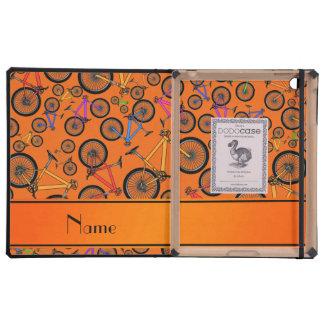 Personalized name orange mountain bikes iPad case