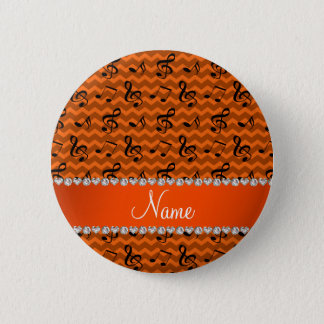 Personalized name orange music notes chevrons button