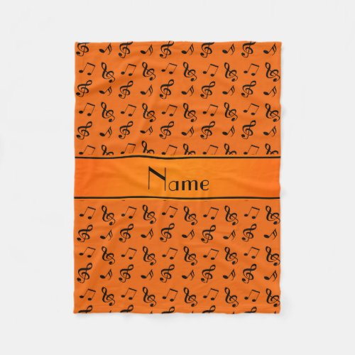 Personalized name orange music notes fleece blanket