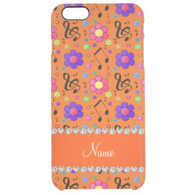Personalized name orange music notes flowers clear iPhone 6 plus case