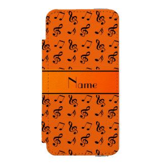 Personalized name orange music notes incipio watson™ iPhone 5 wallet case