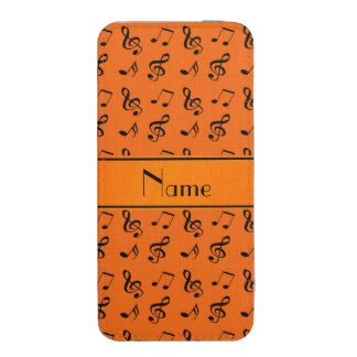 Personalized name orange music notes iPhone 5 pouch