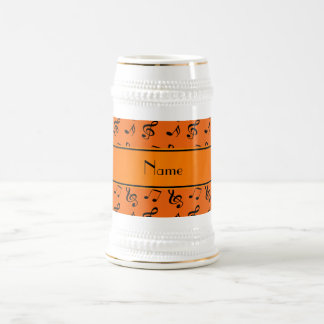 Personalized name orange music notes 18 oz beer stein