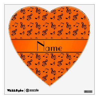 Personalized name orange music notes wall decal