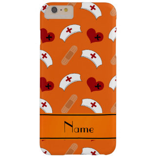 Personalized name orange nurse pattern barely there iPhone 6 plus case