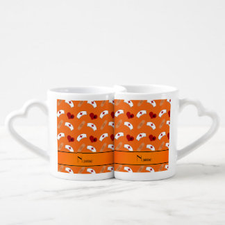 Personalized name orange nurse pattern couples' coffee mug set
