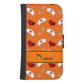 Personalized name orange nurse pattern phone wallet