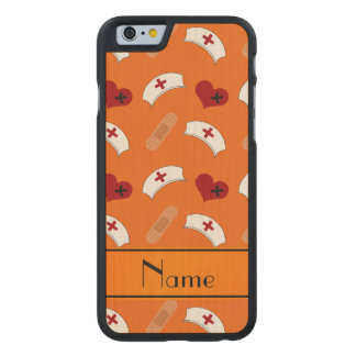 Personalized name orange nurse pattern carved® maple iPhone 6 case