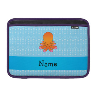 Personalized name orange octopus blue bubbles sleeves for MacBook air