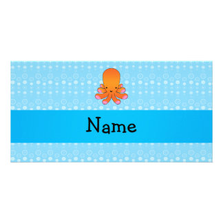 Personalized name orange octopus blue bubbles photo card