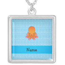 Personalized name orange octopus blue bubbles silver plated necklace