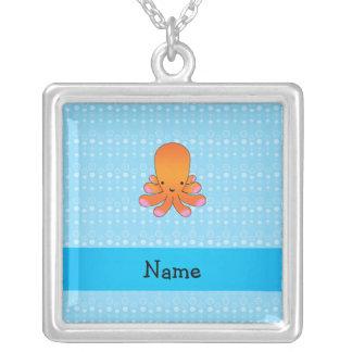 Personalized name orange octopus blue bubbles square pendant necklace