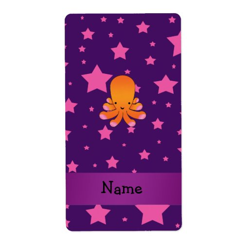 Personalized name orange octopus purple pink stars custom shipping labels