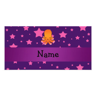 Personalized name orange octopus purple pink stars photo card