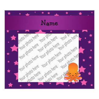 Personalized name orange octopus purple pink stars photo print