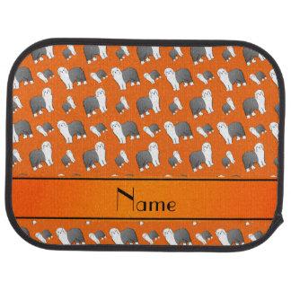 Personalized name orange Old English Sheepdog dogs Car Mat