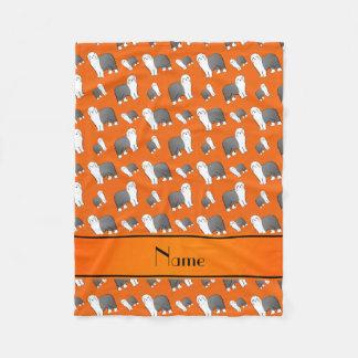 Personalized name orange Old English Sheepdog dogs Fleece Blanket