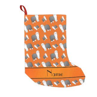 Personalized name orange Old English Sheepdog dogs Small Christmas Stocking