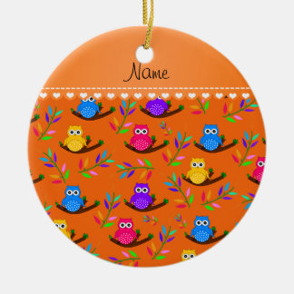 Personalized name orange owl branches leaves ceramic ornament