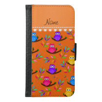 Personalized name orange owl branches leaves samsung galaxy s6 wallet case