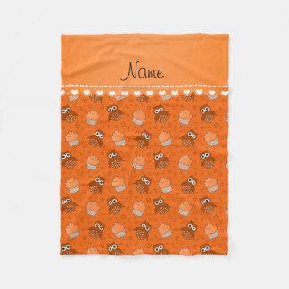 Personalized name orange owls cupcakes stars fleece blanket