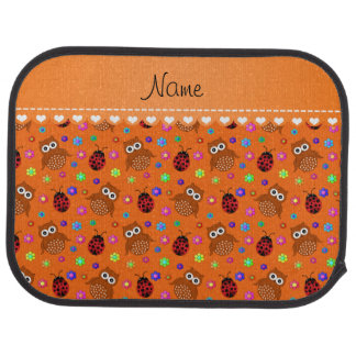 Personalized name orange owls flowers ladybugs car floor mat