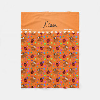 Personalized name orange owls flowers ladybugs fleece blanket