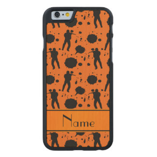 Personalized name orange paintball pattern carved® maple iPhone 6 slim case