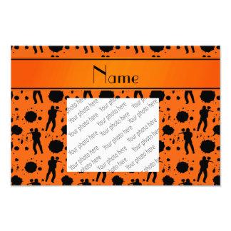 Personalized name orange paintball pattern photo print