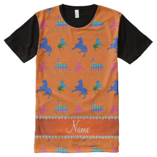 Personalized name orange patterned horses All-Over print shirt