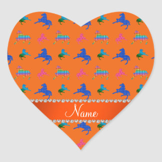 Personalized name orange patterned horses heart sticker