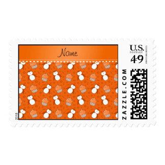 Personalized name orange penguins cupcakes stars postage