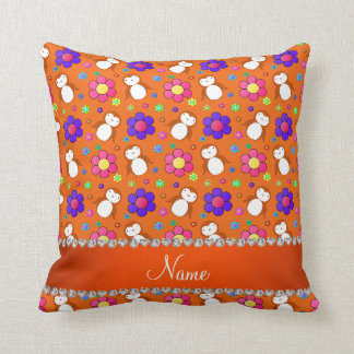 Personalized name orange penguins flowers throw pillow