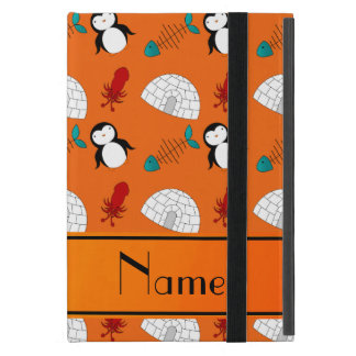 Personalized name orange penguins igloo fish squid case for iPad mini