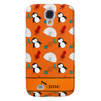 Personalized name orange penguins igloo fish squid galaxy s4 cover