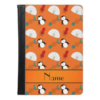 Personalized name orange penguins igloo fish squid iPad air case