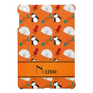 Personalized name orange penguins igloo fish squid iPad mini cases