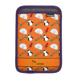 Personalized name orange penguins igloo fish squid iPad mini sleeve