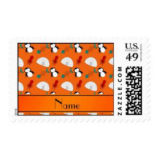 Personalized name orange penguins igloo fish squid postage