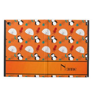 Personalized name orange penguins igloo fish squid powis iPad air 2 case
