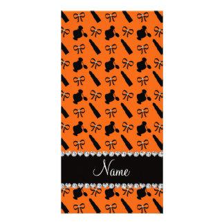 Personalized name orange perfume lipstick bows photo card