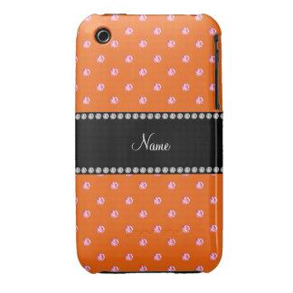 Personalized name Orange pink diamonds iPhone 3 Case