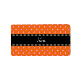 Personalized name Orange pink diamonds Personalized Address Label
