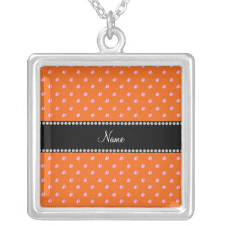 Personalized name Orange pink diamonds Jewelry