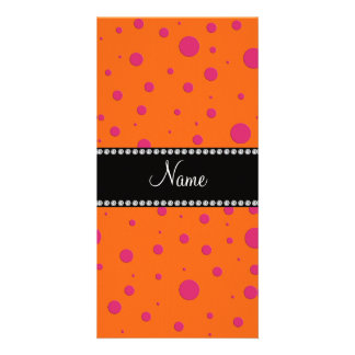 Personalized name orange pink polka dots photo card