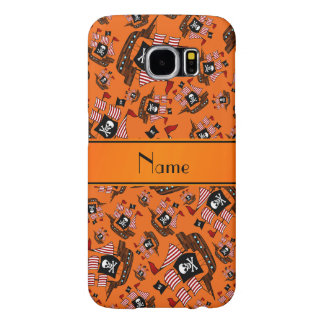 Personalized name orange pirate ships samsung galaxy s6 cases