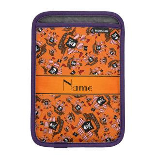 Personalized name orange pirate ships iPad mini sleeve
